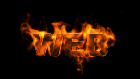 web,burning internet word Stock Video Footage