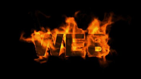 web,burning internet word Animation