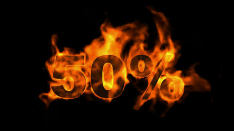 Sale Off 50%,burning fifty Percent Off,fire text Stock Video Footage