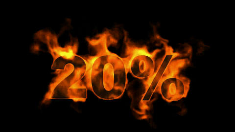 Sale Off 20%,burning twenty Percent Off,fire text Stock Video Footage