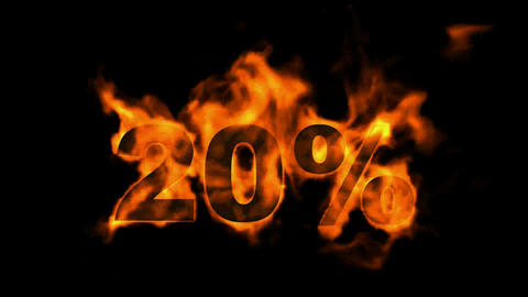 Sale Off 20%,burning twenty Percent Off,fire text Animation