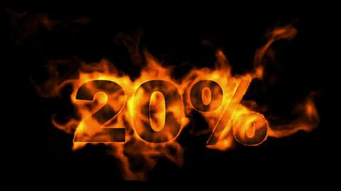 Sale Off 20%,burning twenty Percent Off,fire text Stock Video Footage