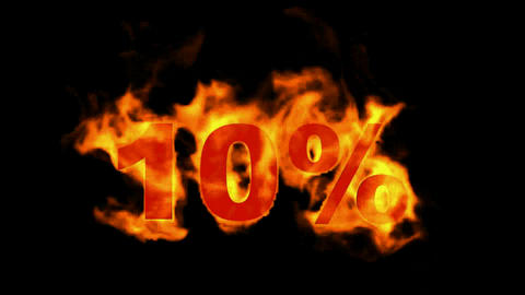 Sale Off 10%,burning ten Percent Off,fire text Animation