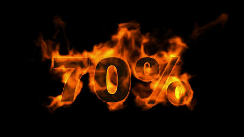 Sale Off 70%,burning seventy Percent Off,fire text Stock Video Footage
