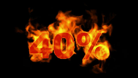 Sale Off 40%,burning forty Percent Off,fire text Animation