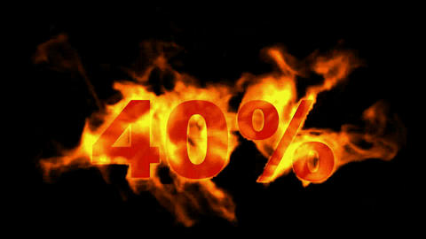 Sale Off 40%,burning forty Percent Off,fire text Stock Video Footage