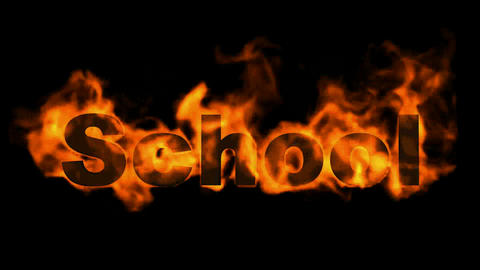 school word,fire text Animation