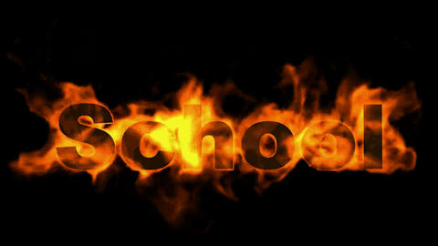 school word,fire text Stock Video Footage