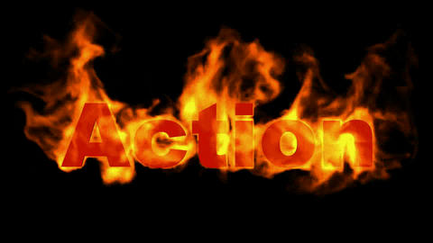action text.burning business fire word Animation