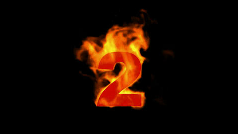 burning numbers 2 ,flames on black background Animation