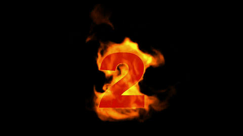 burning numbers 2 ,flames on black background Stock Video Footage