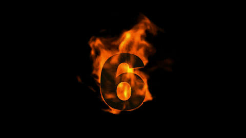 burning numbers 6,flames on black background Animation