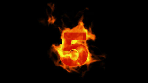 burning fire numbers 5 Stock Video Footage