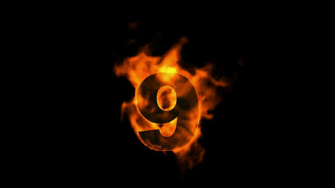burning fire numbers 9 Stock Video Footage