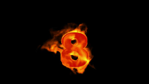 burning fire numbers 8 Stock Video Footage