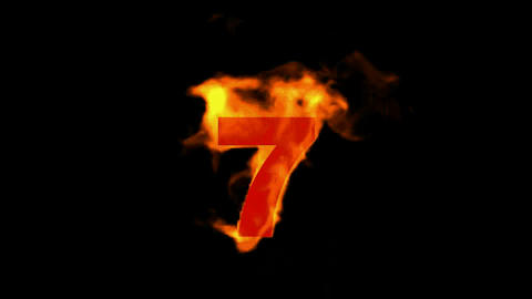 burning numbers 7,fire Animation