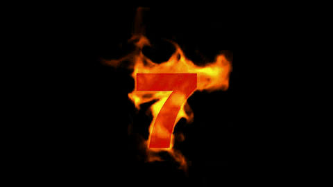 burning numbers 7,fire Stock Video Footage