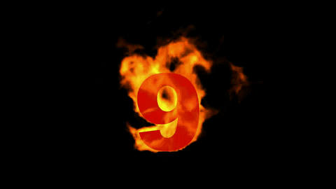 burning numbers 9,flames on black background Animation