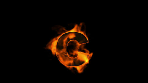 fire letter C,uppercase Stock Video Footage