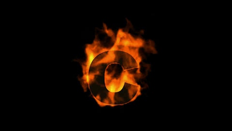 fire letter C,uppercase Animation