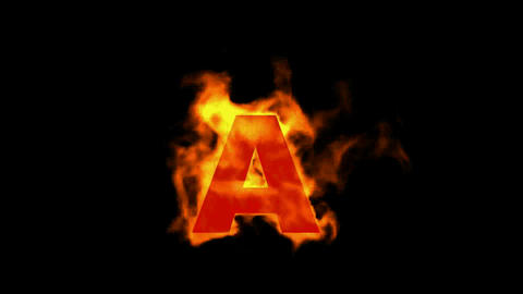 fire letter A,uppercase Stock Video Footage