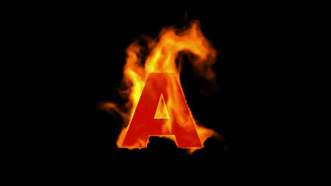 fire letter A,uppercase Animation