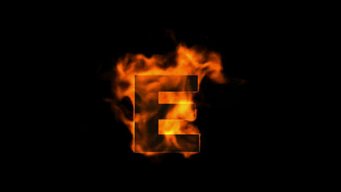 fire letter E,uppercase Animation