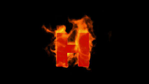 fire letter H,uppercase Stock Video Footage