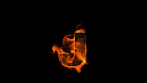 fire letter j Stock Video Footage