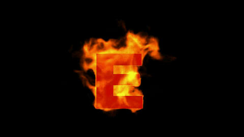 fire letter E,uppercase Stock Video Footage