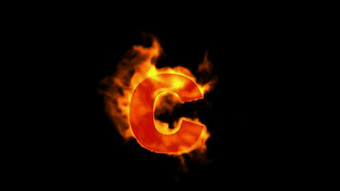 fire letter c Stock Video Footage