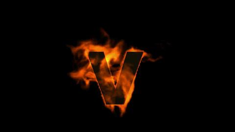 fire alphabet V Stock Video Footage