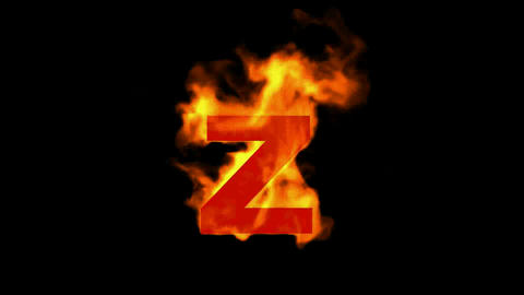 fire alphabet Z Animation