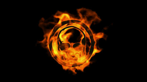 burning fire skull symbol Stock Video Footage