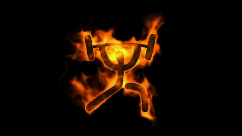 burning fire weightlifting athletic symbol Stock Video Footage