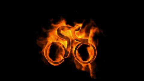 burning fire bicycle sport symbol Stock Video Footage