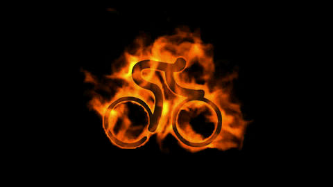 burning fire bicycle sport symbol Animation