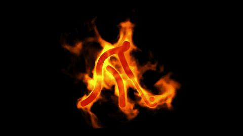 burning fire hockey athlete icon Stock Video Footage