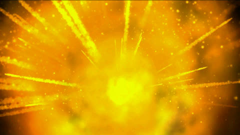 explosion fireball and smoke in universe,gold missle and sparkle rays laser light Animation