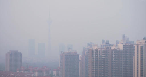 4K China Cityscape with Heavy Pollution