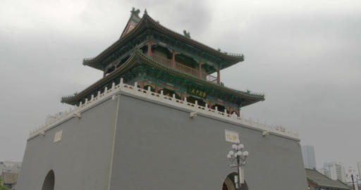 4K Drum Tower Tianjin China Live Action