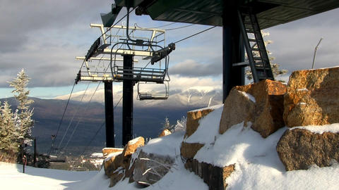 Empty chair lift during midweek skiing Footage