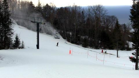 Night skiing preparation Footage