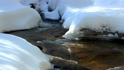 Icy mountain river Footage