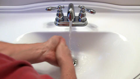Man washes hands Footage
