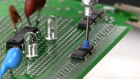 Assemble Circuit With Surface Mount IC By Hand stock footage