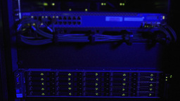 Blue Lighting On Rack Of Internet Servers stock footage