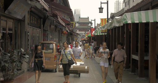4K Shoppers at Chinese Market Footage