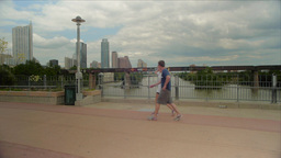 People Walking with Austin Skyline in Background Footage