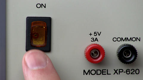 Power button turn on/off; Power Supply Stock Video Footage